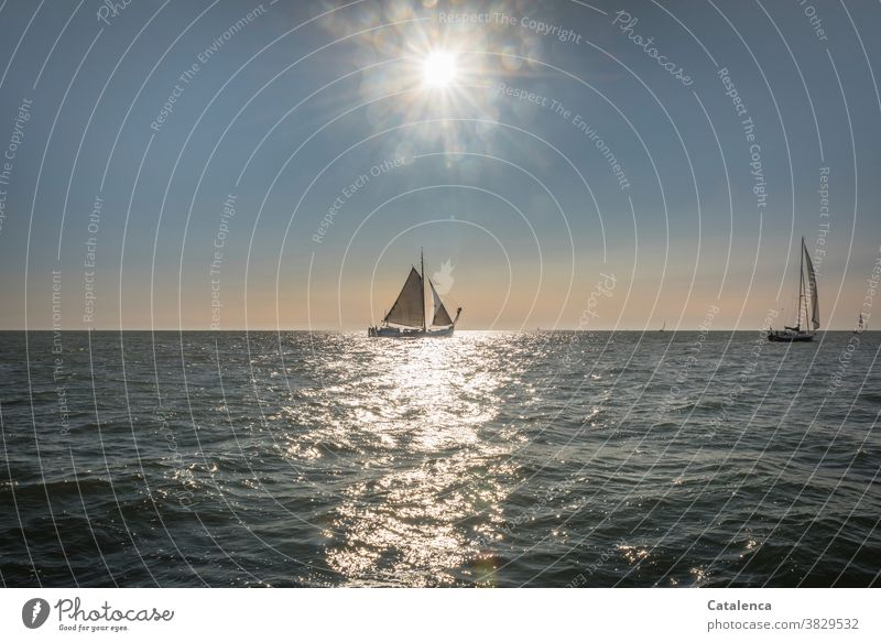 Flat-bottomed ship in sunlight Beautiful weather Sky Vacation & Travel Ocean Sail Horizon Wet Water Freedom Light Sun sailing yacht Waves Sunbeam Sailing Blue
