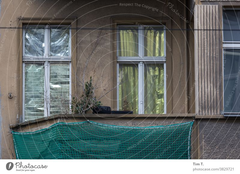a broken balcony in Berlin Mitte Middle Balcony Old building House (Residential Structure) Facade Window Town Deserted Downtown Capital city Old town