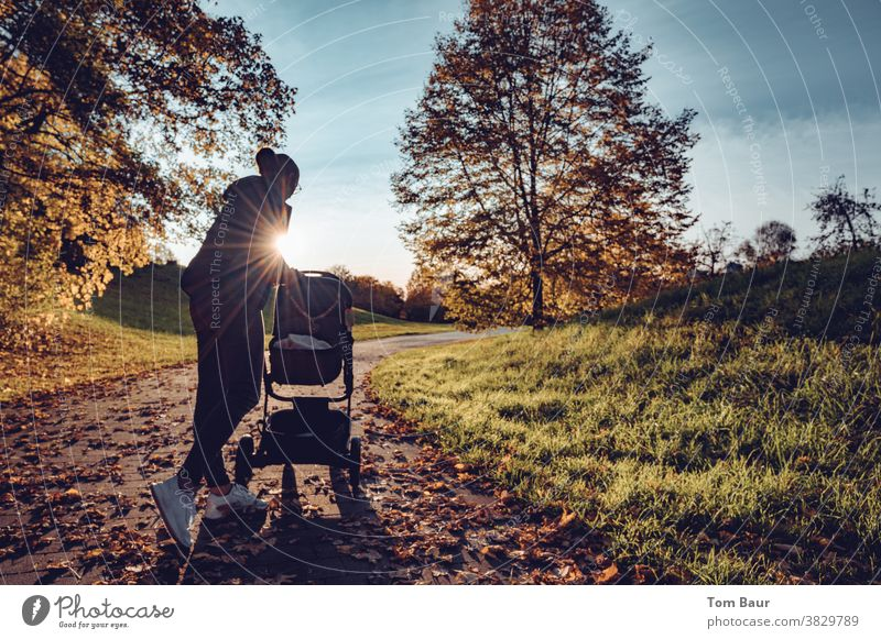 Look who's awake! Mother is looking at the baby carriage during an autumn walk. Scene in front of back light, the sun's rays surround the young mother