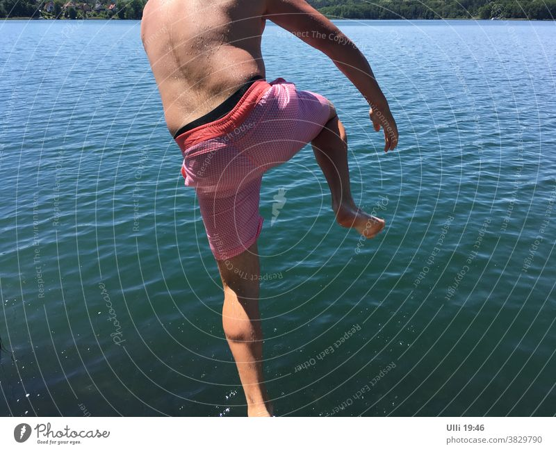 Jump into cold water (No.5) - - - - Stragglers. Lake Water Summer's day Jumping power leaking Brave gutless clapper jump cold-blooded upside down unrestrained