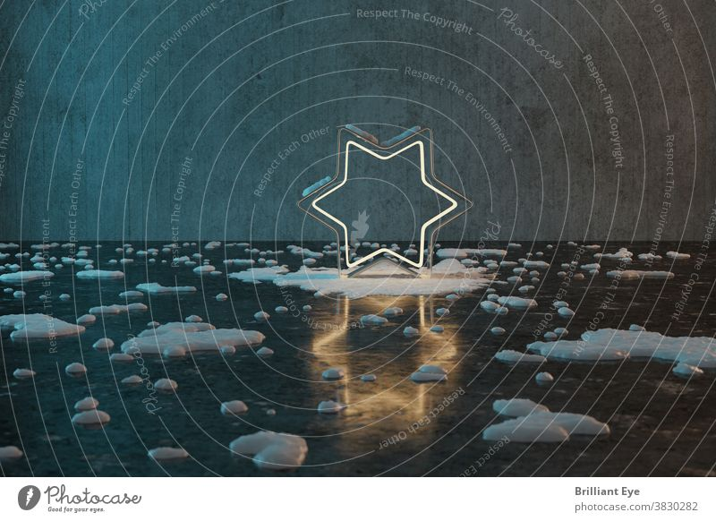 golden star shape with light covered by snow in front of grunge wall background with reflection floor texture concrete 3d abstract backdrop blue bright