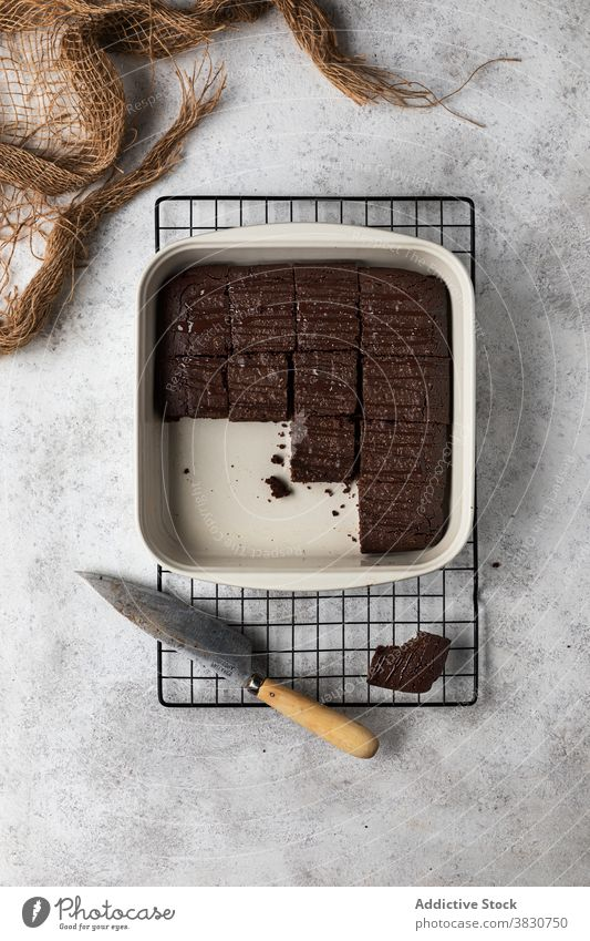 Brownie cake in baking pan browinie chocolate baked piece cut dessert homemade sweet food kitchen cook prepare delicious tasty pastry cuisine tradition culinary