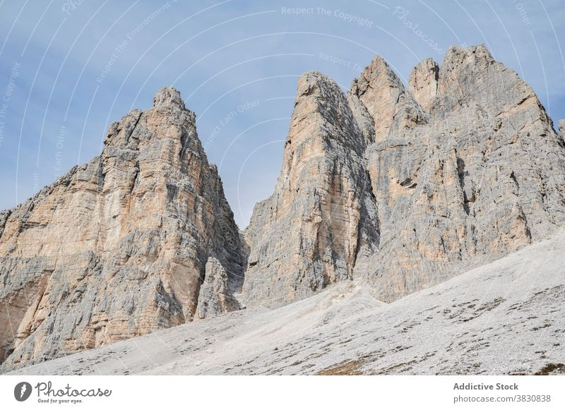Valley in snowy mountain range valley amazing dolomites alps italy picturesque scenic breathtaking beautiful spectacular magnificent nature landscape ridge rock