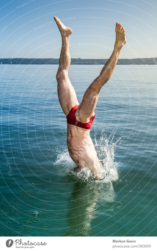 Human being Man Water Summer Relaxation Red Joy Environment Adults Life Coast Sports Swimming & Bathing Lake Legs Jump
