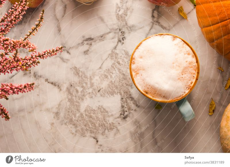 Autumn still life with mug of coffee and pumpkins autumn cozy marble background latte cappuccino table flatlay thanksgiving rustic relax drink card celebration