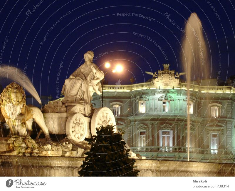Cibeles Madrid Spain Fountain Places Night Historic