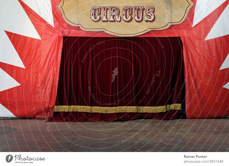 Closed stage curtains of a circus before the show anticipation background circus background circus tent drapes empty empty stage entertainment entrance event