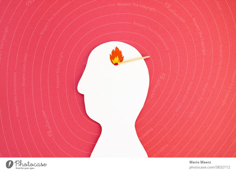 Fire in the head // Head silhouette made of paper with match and flame brain Think thoughts ideas Burn Flame Match Illustration paper cut crafted peril