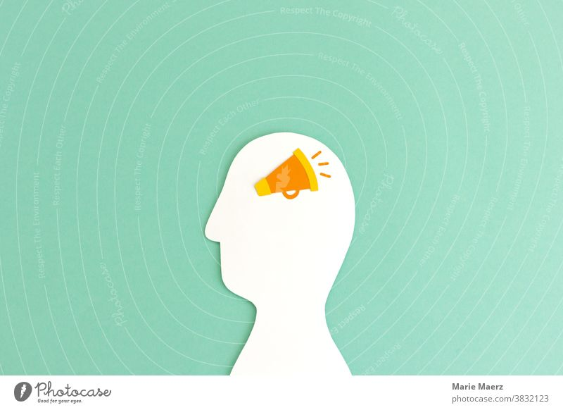Announcement in the head | Head silhouette made of paper with a megaphone Silhouette Megaphone announcement Loud Communicate Loudspeaker Human being Scream