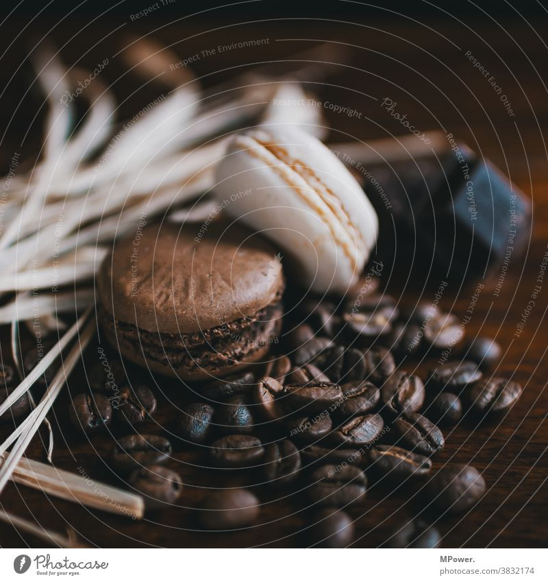 biscuits and coffee Coffee Coffee bean Brown Café Espresso Beans Caffeine Close-up roasted Macro (Extreme close-up) Food sweet dish sweets Aromatic