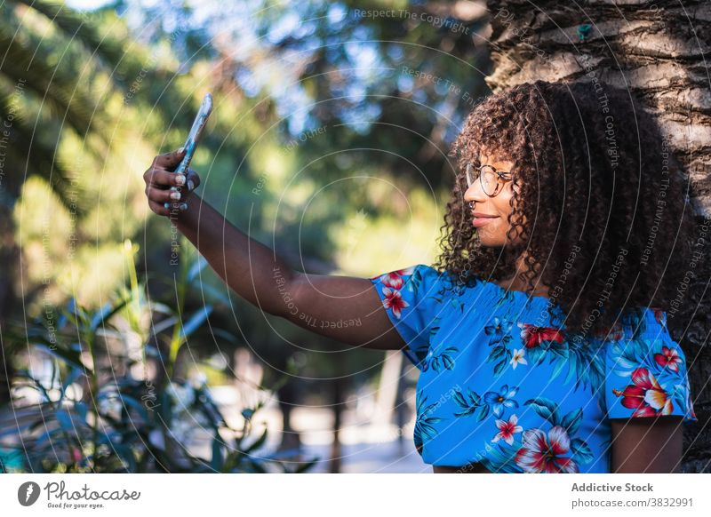 Glad black woman taking selfie near palm tree summer style smartphone weekend street rest female young ethnic african american glasses trunk casual trendy