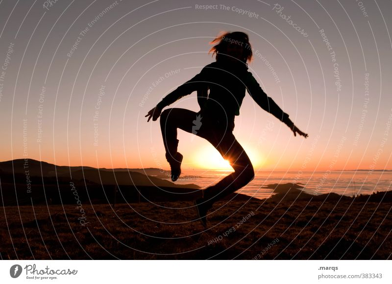 Human being Nature Youth (Young adults) Sun Young woman Landscape Joy Far-off places Adults Emotions Feminine Freedom Style Happy Jump Horizon