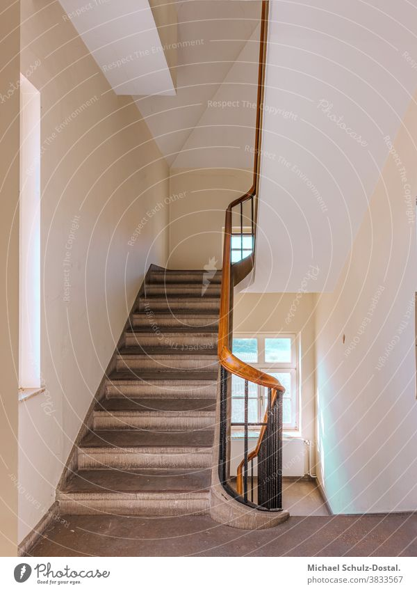 White staircase with wooden banister minimal graphically colors shape Geometry abstract Abstract Colour Square harmony Stairs House (Residential Structure)