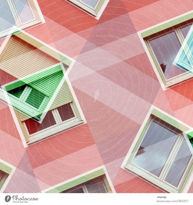 windows 10 Style Design Facade Window Living or residing Exceptional Hip & trendy Green Red White Colour Perspective Double exposure Colour photo Multicoloured