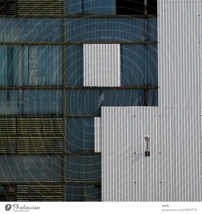 tetris Building Industry Industrial plant Industrial site Industrial Photography Facade Factory Factory hall Blue White Line lines Structures and shapes
