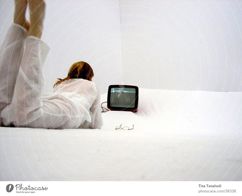 Woman White Room Television Lie Media