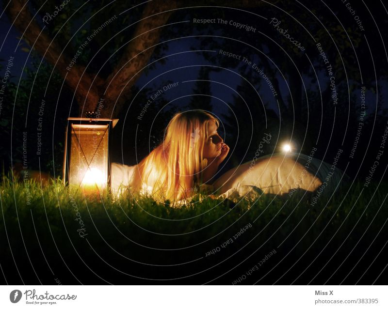 summer night's dream Meditation Vacation & Travel Adventure Camping Summer Summer vacation Night life Human being Feminine Young woman Youth (Young adults) 1