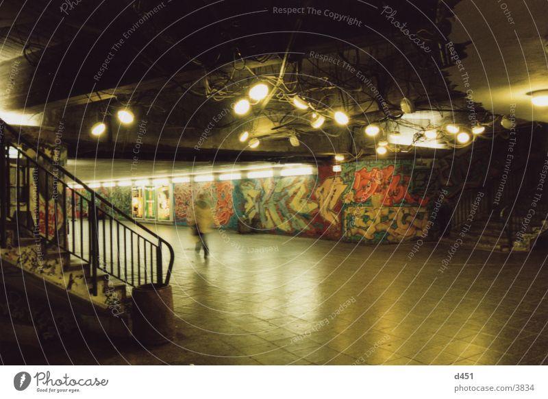 lights Tunnel Light Lamp Night Architecture Stairs Graffiti