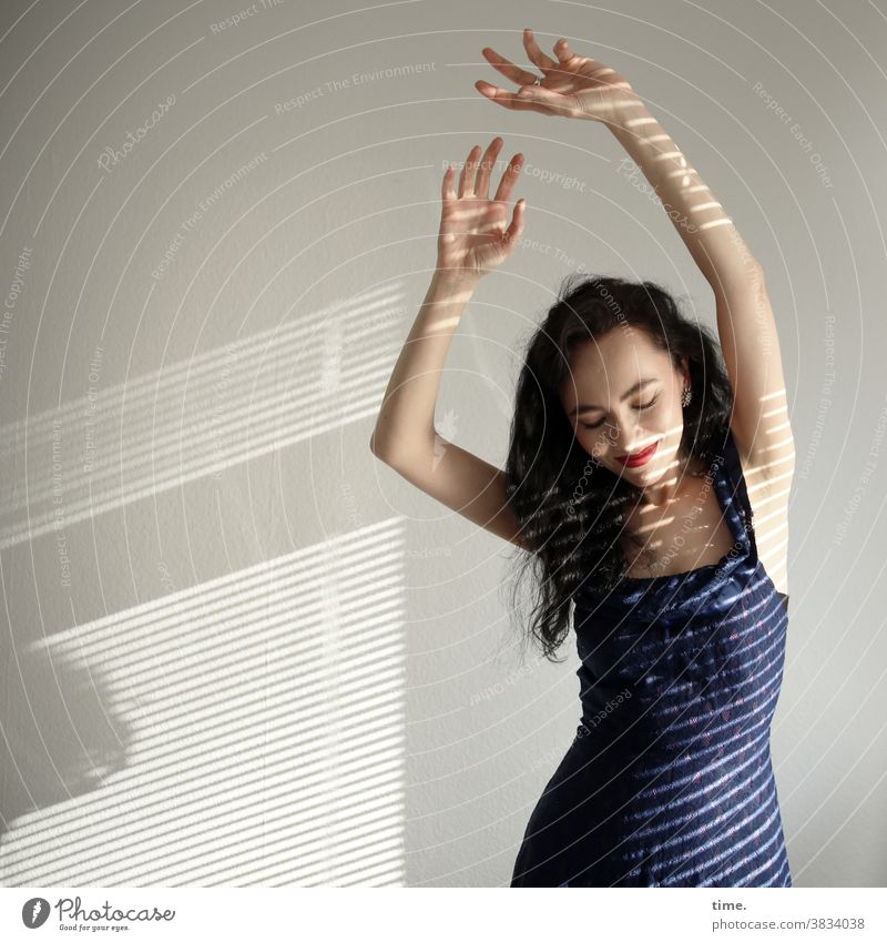 Sirinya Dance Long-haired Strip of light Shadow Sunlight relaxed kind Dress Dark-haired portrait dance move sensual bodily Smiling