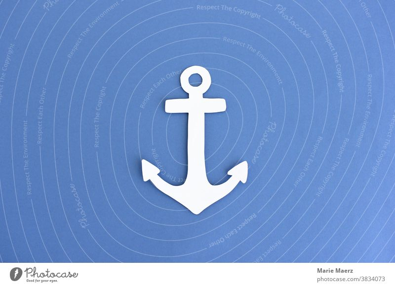 Anchor Paper Illustration Blue White Maritime seafaring Ocean voyage vacation Harbour Safety Drop anchor Navigation Vacation & Travel Detail paper cut