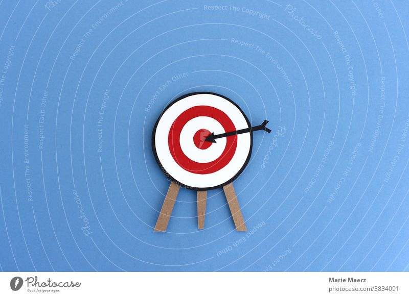 In the middle of the target / target with black arrow in the middle Target Middle meetings Strike Perfect Accuracy Success Business concept Sports Arrow Aim