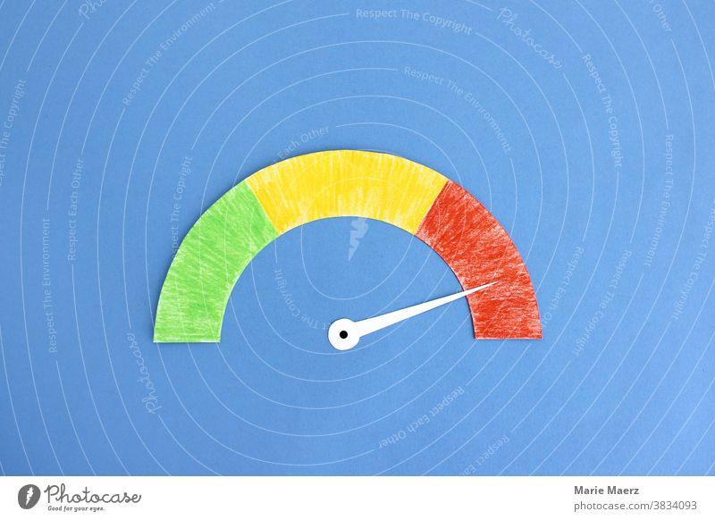 Speedometer in red area speedometer Display Red load factor Illustration illustration Pointer. dial Neutral Background Copy Space top Minimalistic Risk peril