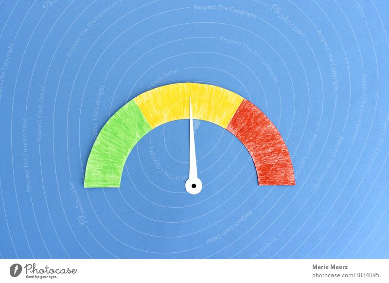 Speedometer with pointer in yellow area Measuring device Measure Risk Minimalistic Copy Space top Neutral Background Pointer. dial illustration Illustration
