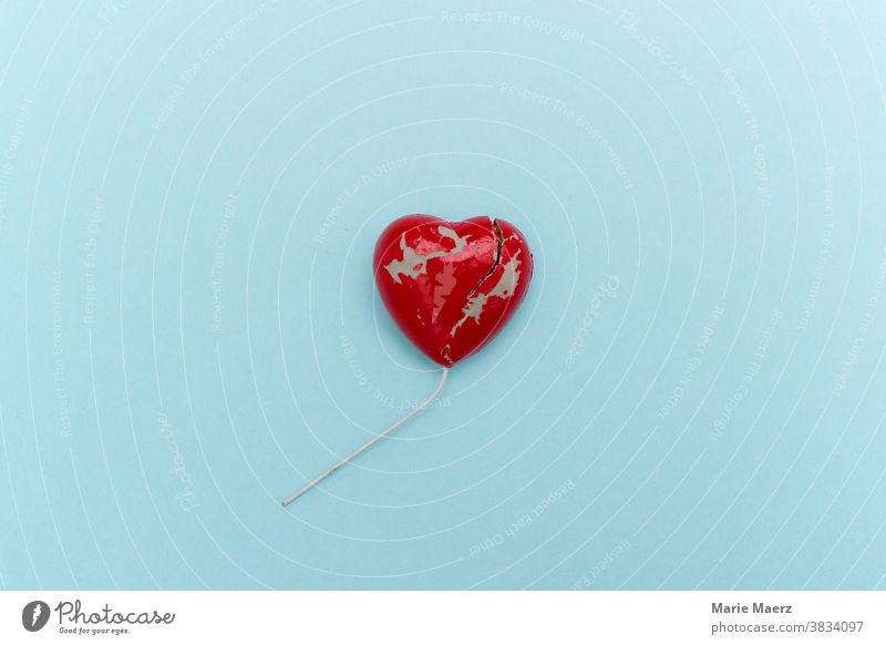 broken heart Heart Love Lovesickness Broken Crack & Rip & Tear Pain Divide Loneliness Disappointment Sadness Colour photo Red Divorce Relationship Emotions
