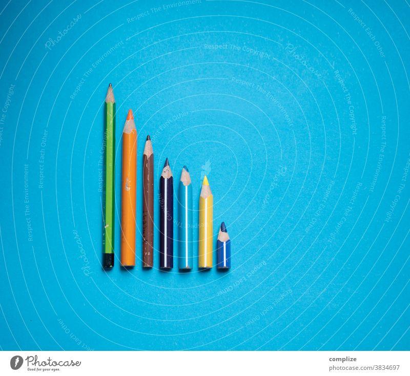 Coloured pen curve variegated crayons Painting (action, artwork) Inspiration kita Statistics deciduous Curve colour palette colourful Blue copyspace copy space