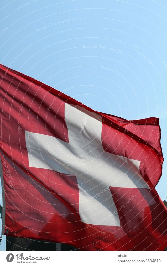 My neighborhoods l in Switzerland.... Swiss Swiss flag Flag Red Patriotism Ensign Pride Blow Politics and state Sign Sky Wind Crucifix Neutral Flagpole