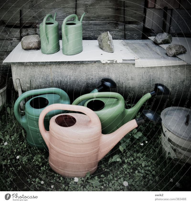 watering can principle Watering can Plastic Wash tub Stand Wait Colour photo Subdued colour Exterior shot Detail Deserted Day Central perspective Long shot