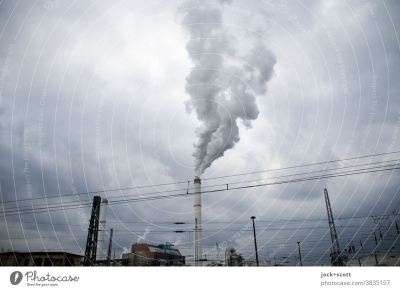 Combined heat and power plant for the climate Industry Energy industry Clouds Chimney Smoke Authentic Environmental pollution Climate change Lack of inhibition