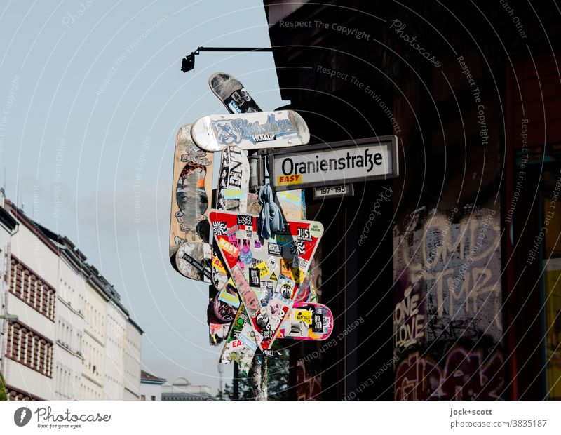 Art of the street, Kreuzberg Street art Road sign Street sign Collection Label Sign Exceptional Uniqueness Many Trashy Lack of inhibition Chaos Creativity