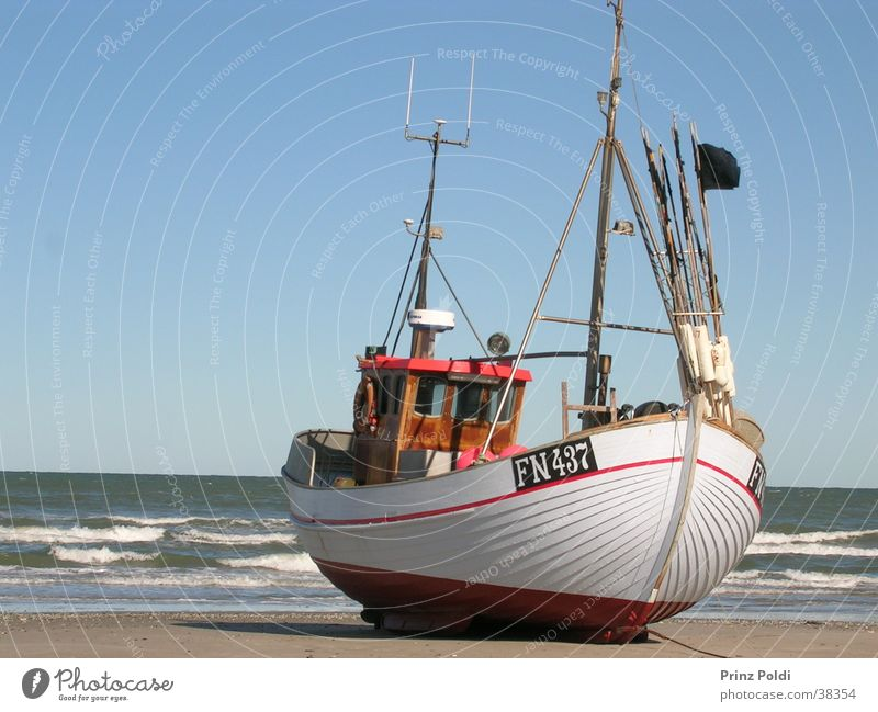 Boat on the beach Fishing boat Watercraft Beach Ocean Coast Fishery Fisherman Leisure and hobbies Denmark