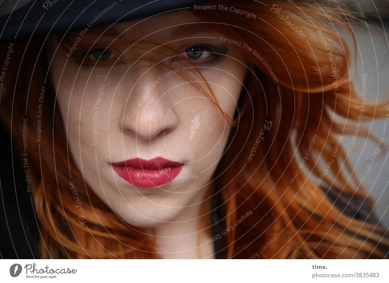 anastasia actress Concentrate critical Inspiration Creativity Skeptical pretty Long-haired Red-haired Hat Woman Feminine portrait Front view Intensive Lipstick