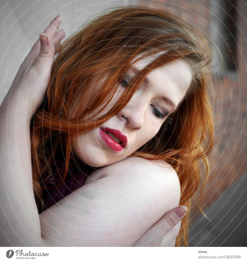 anastasia portrait actress Long-haired Red-haired Lipstick Dance stop sensual devotion devoted Art artist Wall (barrier) Architecture arm Hand Face Downward