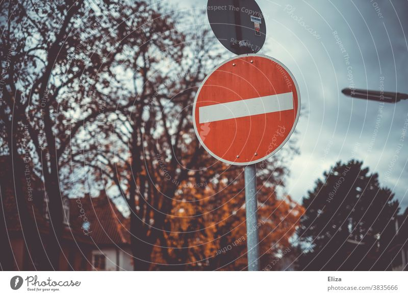 No entry Traffic sign. One-way street. forbidden Road sign Signage Road traffic Autumn Bans