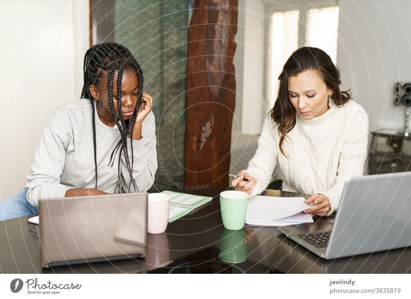 Two college girls studying together at home with laptops while drinking coffee student women multiethnic computer multiracial house black afro lifestyle two