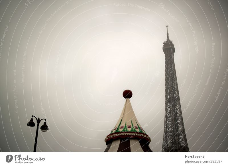 Paris morning (II) Sky Clouds Bad weather France Capital city Manmade structures Roof Tourist Attraction Landmark Monument Eiffel Tower Esthetic Dark Historic