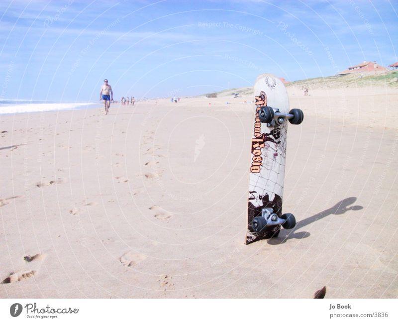 Surfing or skating? Summer Beach Skateboarding Ocean Atlantic Ocean France Sports Sun Sand Fat and Rosy Irritation