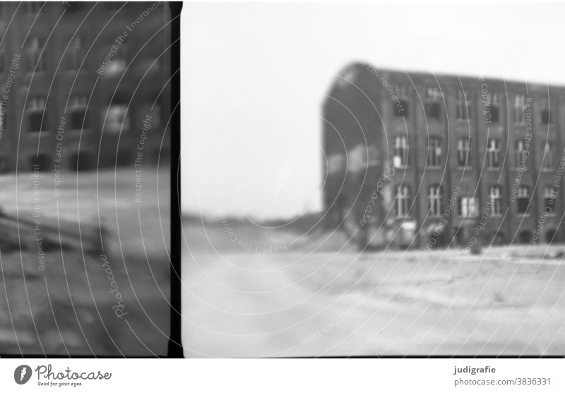 Industrial ruin, analogue photography. Industrial wasteland Building Architecture Ruin Building for demolition Ripe for demolition Decline Transience Deserted