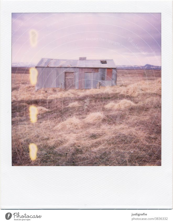 Icelandic house on Polaroid House (Residential Structure) Hut door dwell Colour photo Exterior shot Deserted Building Wall (building) Architecture