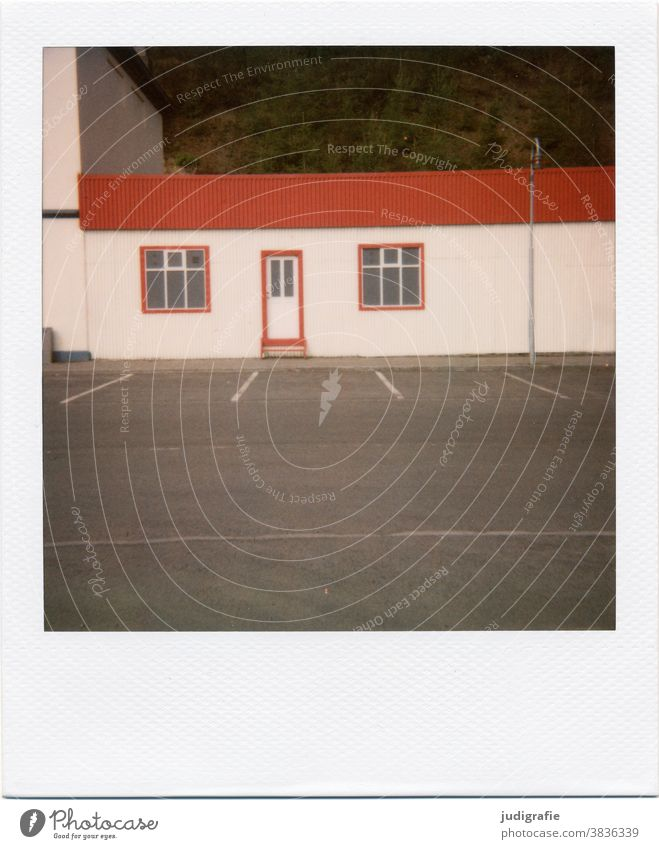 Icelandic house on Polaroid House (Residential Structure) Hut Window door dwell Colour photo Exterior shot Deserted Building Wall (building) Architecture