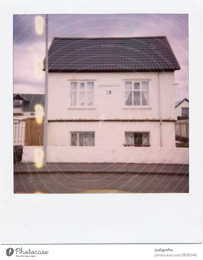 Icelandic house on Polaroid House (Residential Structure) Window dwell Colour photo Exterior shot Deserted Building Wall (building) Architecture