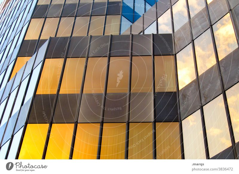 façade Building Facade Metal Brown Yellow Sharp-edged lines Modern Architecture High-rise Reflection Manmade structures Glas facade Window Office building