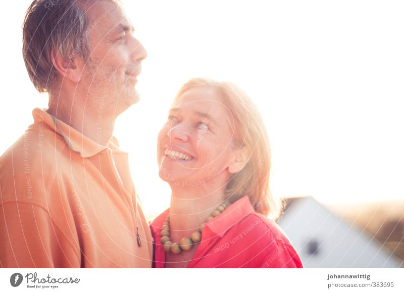 a moment, a love, a dream, a laugh Joy Woman Adults Man Parents Couple Partner Senior citizen 2 Human being 45 - 60 years Summer Beautiful weather Warmth Old