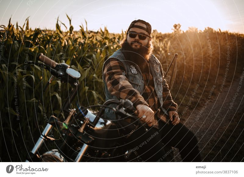 young man with beard on motorcycle in front of a cornfield at sunset teen Sunset out Field Hip & trendy Hipster Man Facial hair Motorcycle harley Maize field