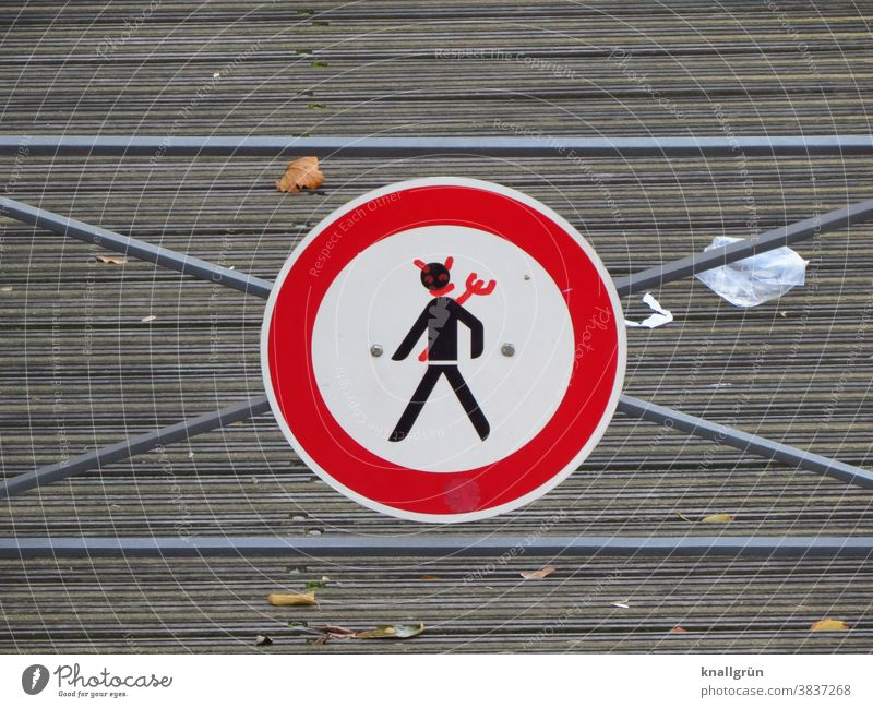 Funny traffic sign Road sign Creativity Exterior shot Signs and labeling Warning sign Lanes & trails Signage Transport Traffic infrastructure Deserted
