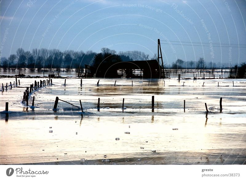 Winter Landscape Ice Grief Romance Hut Rhine Niederrhein Kleve Rees