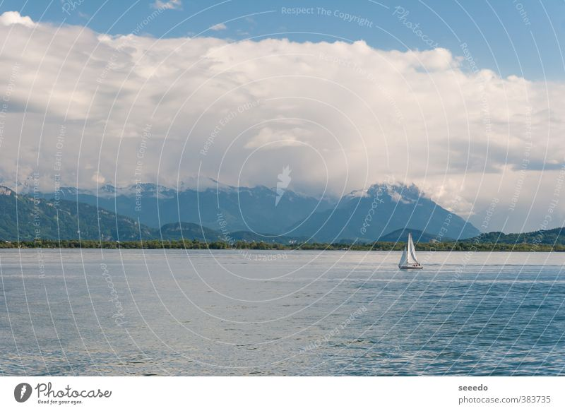 Sailing boat on the Lake Constance (Bodensee) Sky Blue Water Summer Ocean Landscape Clouds Far-off places Spring Freedom Germany Waves Large Tourism